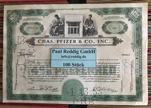 100x Chas. Pfizer & Co. Inc. (<100 Shares) 1950er