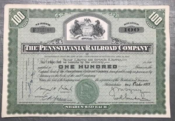 100x Pennsylvania Railroad Company (100 Shares) 1950er