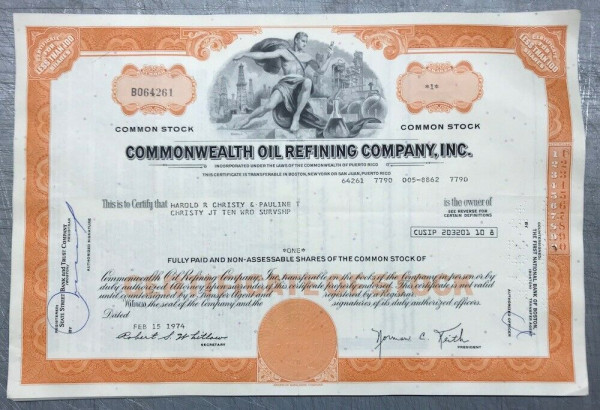 100x Commonwealth Oil Refining Company Inc. (<100 Shares) 1970er