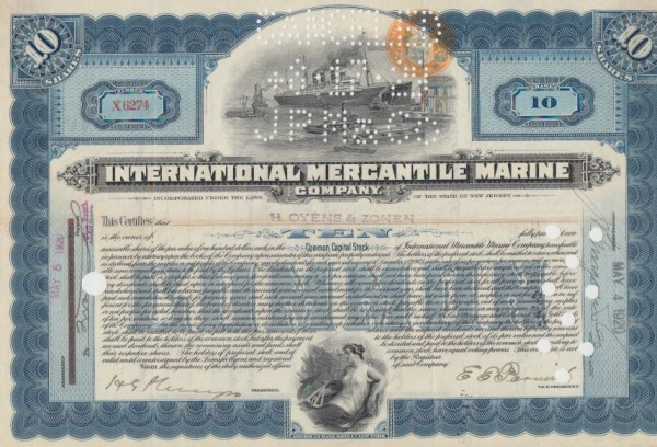 10x International Mercantile Marine Company (Steuerstempel)