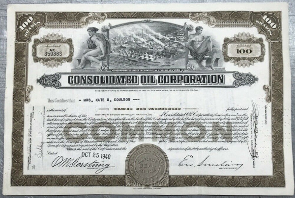 100x Consolidated Oil Corporation (100 Shares) 1940er