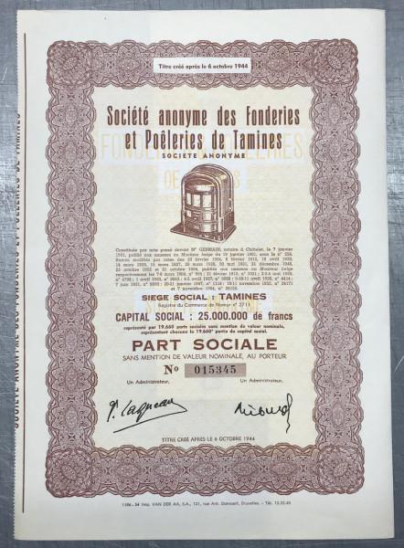 20x S.A. des Forderies et Poeleries de Tamines 1954