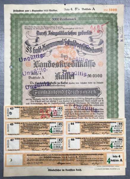 25x Landeskreditkasse Kassel - 5000 Reichsmark - 1930