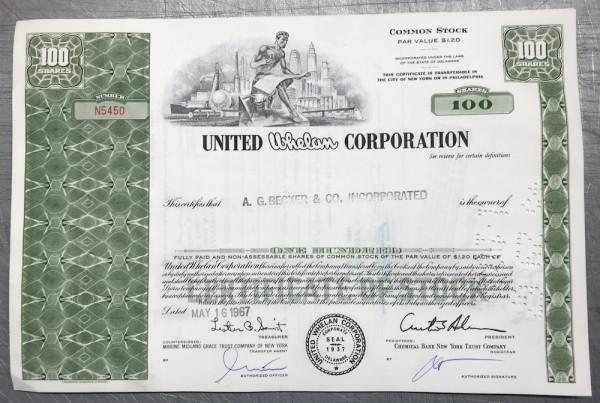 100x United Whelan Corporation (100 Shares) 1960er