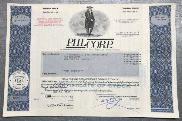 100x PHL Corp. Inc. (diverse Shares) 1990er