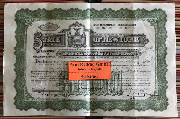 50x General State Improvements $1.000 Issue 1931