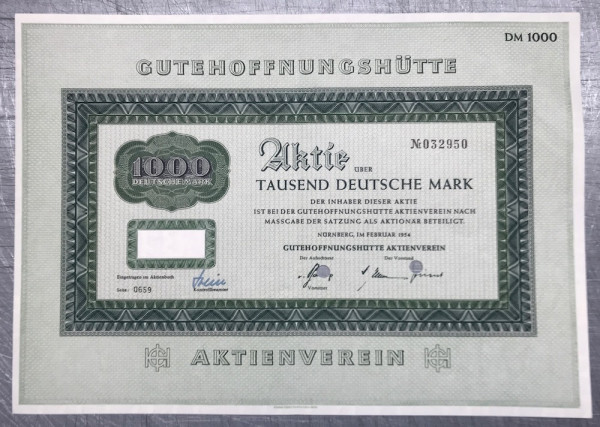 25x Gutehoffnungshütte - 1000 Deutsche Mark - 02/1954