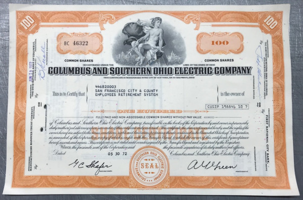 100x Columbus & Southern Ohio Electric (100 Shares) 1970er