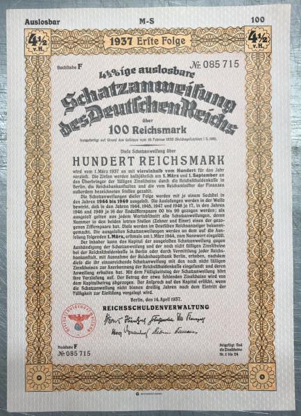 25x Deutsches Reich 1937 - 100 Reichsmark - Schatzanweisung