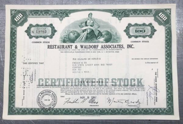 100x Restaurant & Waldorf Associates Inc. (100 Shares) 1960er