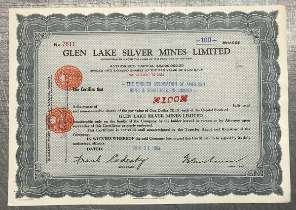 Glen Lake Silver Mines