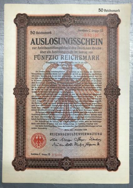 25x Deutsches Reich 1926 - 50 Reichsmark - Auslosungsschein
