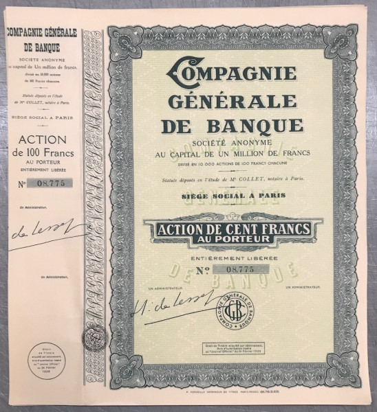 25x Compagnie Generale de Banque Societe Amonyme