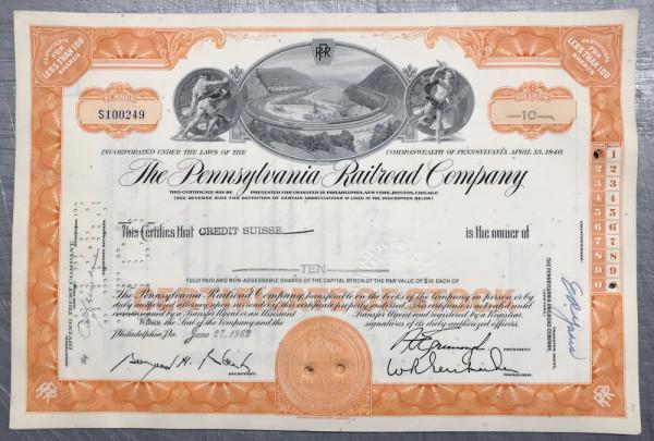 100x Pennsylvania Railroad Company (<100 Shares) 1960er