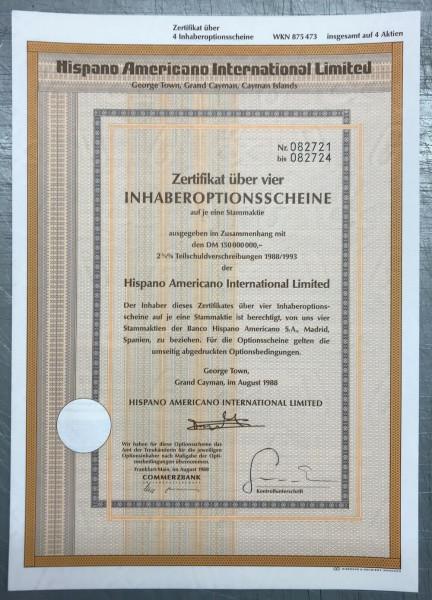 100x Hispano Americano International Limited * 4er * WKN 875473