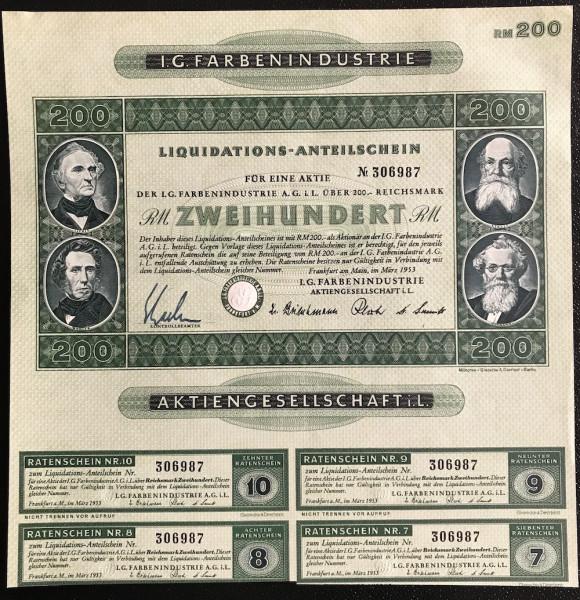 25x I.G. Farbenindustrie - 200 Reichsmark - Liquis 1953